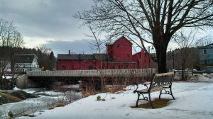 The Vermont Studio Center's Red Mill Lounge (where we ate all our meals) and the bench where I did most of my thinking
