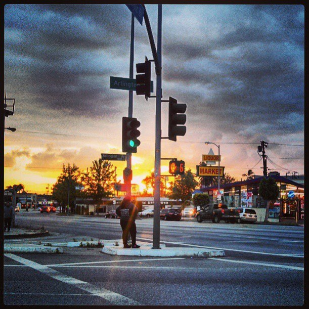 Yesterday's sunset, corner of Olympic and Arlington Ave